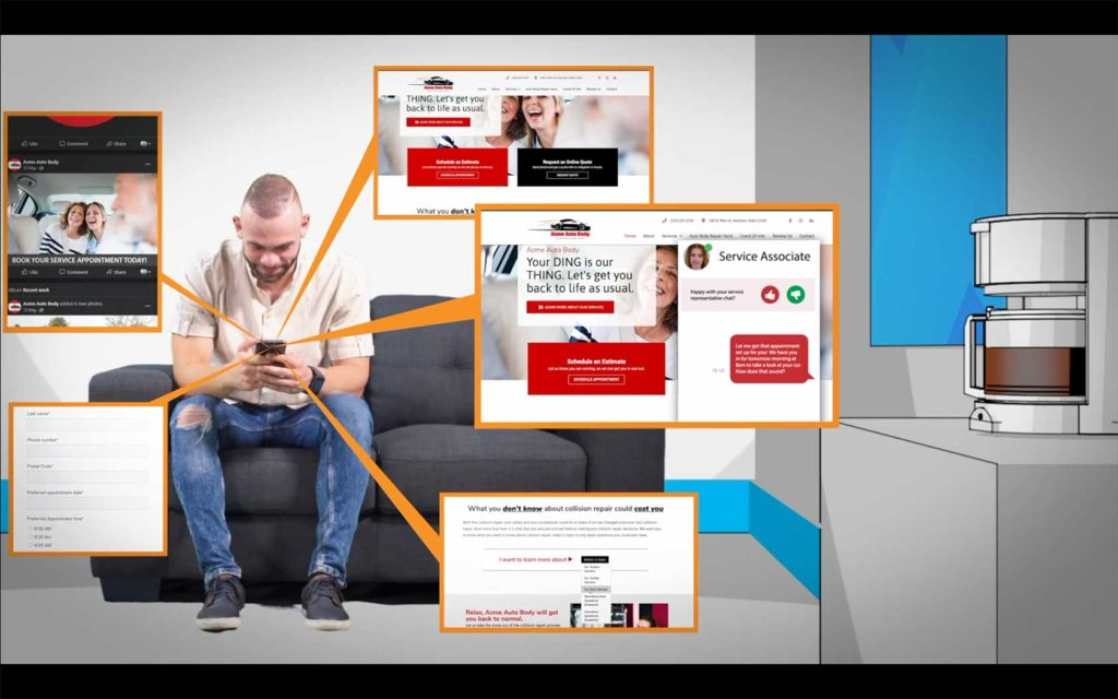 Man on couch consumes content on his phone